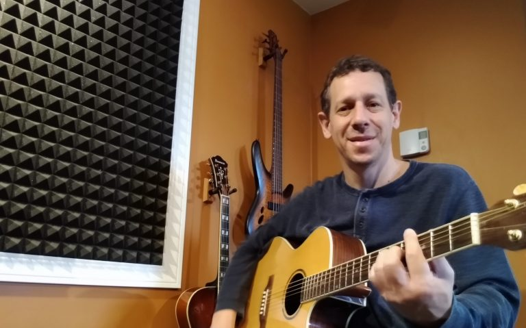 Andrew Wright in his studio for Guitar Lessons and Bass Lessons